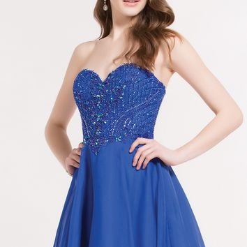 Alyce 3722 Strapless Chiffon Dress with Beaded Corset Bodice
