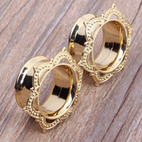 1 Pair New Style Brass Ear Plug Flesh Tunnel Piercing Exapnder Stretcher Copper Gold Ear Gauge 6-16mm Body Jewelry