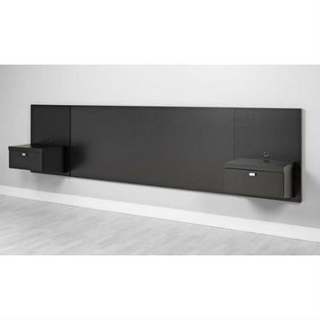 King Size Modern Floating Headboard with 2 Nightstands in Black