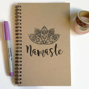 Writing journal, spiral notebook, cute diary, small sketchbook, scrapbook, memory book, 5x8 journal - Namaste, lotus flower, yoga journal