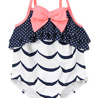 Wavy Ruffle One-Piece Swimsuit