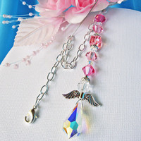 Rear View Mirror Car Charm Swarovski Pink Crystal Guardian Angel Suncatcher Car Mirror Accessories