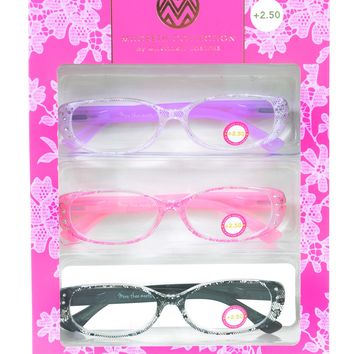 Macbeth Collection 3 Pairs Reading Glasses Lace Print Readers +2.50