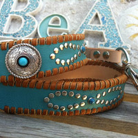 Dog Leash Leather Mohave Dog Collar with Infinity Rivet Design  Mohave Custom Concho Deertan Lacing Southwest Boho Leather Dog Collar