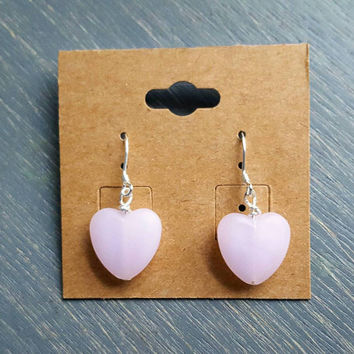 Pink Valentine's Day Heart Earrings - Sterling silver & frosted pink glass hearts
