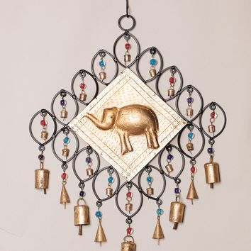 Beads and Bells Elephant Wind Chime