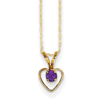 14kt Yellow Gold 15 Inch Open Heart Frame Amethyst Girls Necklace