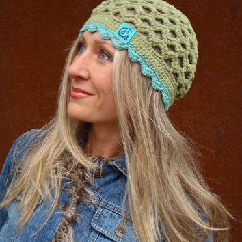 Country GREEN cotton BEANIE hat HIPPIE beanie bohemian hat hand crochet cotton hat scalloped beanie