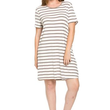 All About Stripes Dress Plus Size Cocoa