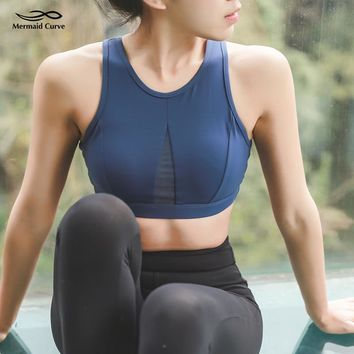 Mermaid Curve 2018 New Sports Bras Women Removable Padded Yoga Bra Vest Gym Hollow out Breathable Fitness Running Bra Tank Tops