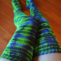 Tie Dye Hoop Girl Thigh High Dance Socks - Yoga - Burning Man Festival - Leg Warmers