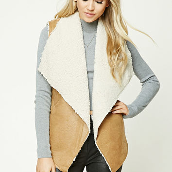 Faux Leather Sherpa Fleece Vest