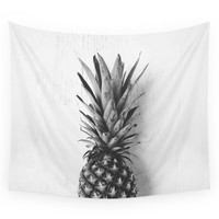 Society6 Black And White Pineapple Wall Tapestry