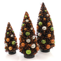 Halloween HAUNTED BOTTLE BRUSH TREES Plastic Glitter Black Orange Lg3389