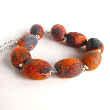 Felted necklace orange  gray beaded necklace hand felted  felt, orange gray OOAK necklace