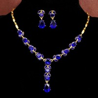 Topkeeping Brand Fashion Jewelry Wome Gold Color Filled 3 Colors CZ Crystal Crystal Necklace Earrings Wedding Jewelry Sets