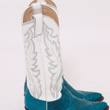 Vintage 80s JUSTIN Western Boots Leather & LIZARD Cowboy Boots TURQUOISE and White Boots Size 6B