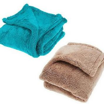 Berkshire Set of 2 Super Soft Mega 55x70 Fluffie Throws — QVC.com
