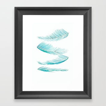 falling palm leaves watercolor Framed Art Print by Color and Color