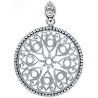 Southern Gates Round Art Deco Pendant In Sterling Silver