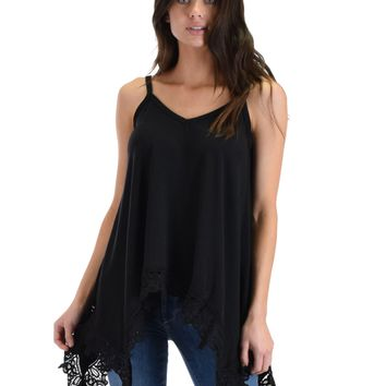 SL4563 Black Sleeveless Cami With Handkerchief Hemline And Lace Trim