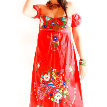 Rojo Corazon Mexican strapless dress and sleeves