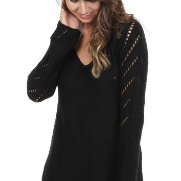 Open Knit Pullover Black