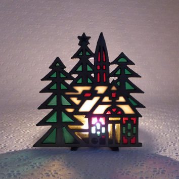 Stained Glass Candle Holder, Church in the Woods, Pine Fir Trees, Votive Candle Holder, Cast Iron, Green Red Glass, Holiday Winter Decor