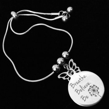Breathe Believe Be Bolo Bracelet Stainless Steel Adjustable Bracelet Gift Message Charm Bracelet