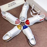 Alexander Mcqueen 2020 Hot Sale Woman lace up low top boots Leisure Sport Shoes Sneakers top quality white pink