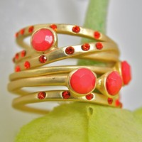 Neon and Crystal Coral Beaded Stacking Rings with Faceted Stones