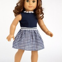 Saturday Afternoon - Navy Blue Dress - Clothing for 18 inch Dolls (Shoes sold separately) (doll not included)