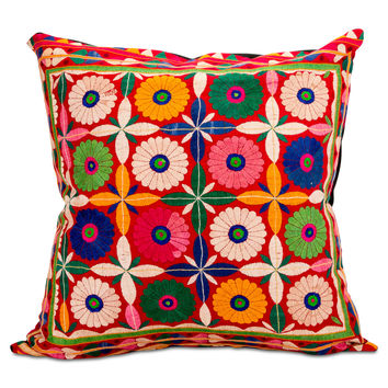 Banjara Flower Embroidered Pillow I