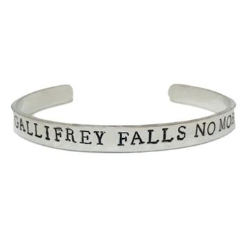 Doctor Who Hand Stamped Gallifrey Falls No More Cuff Bracelet