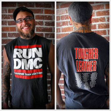 "Rare Original 1988 RUN DMC ""Tougher Than Leather"" Tour Shirt"