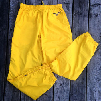 Vtg Ralph Lauren Polo Sport Track Pants Deadstock M yellow jacket windbreaker shirt sweater pwing jersey