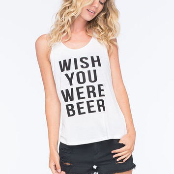 Retro Doll Wish You Were Beer Womens Tank White  In Sizes
