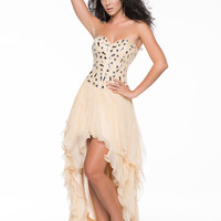 Nude Beaded & Chiffon Strapless Sweetheart Prom Gown