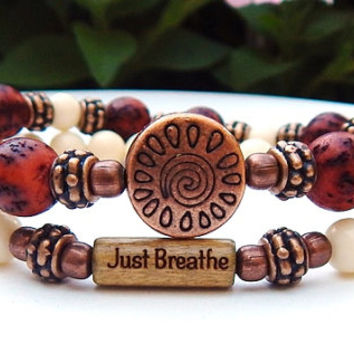 Just Breathe Bracelet, Yoga Bracelet, Nature Bracelet, Everyday Bracelet, Salwag Nut Bracelet, Boho Bracelet, Boho Jewelry, Rustic Chic