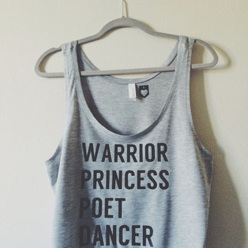 Yoga Top Boxy Tank Shirt Christian Yoga Clothes Warrior Princess Poet Dancer by Maidservant Of Encouragement