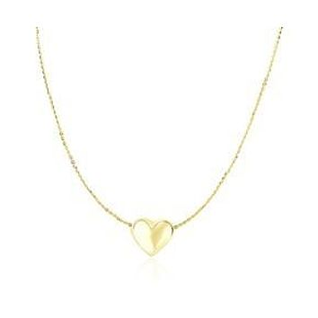 14K Yellow Gold Puffed Sliding Heart Charm Necklace