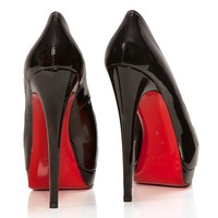 Palais Royal 140 patent leather peep toes - Christian Louboutin from Cricket Fashion Boutique UK