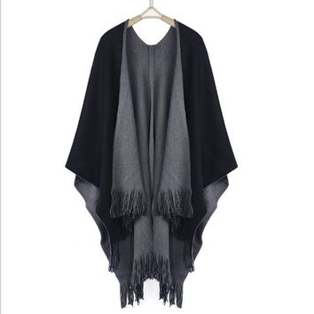 Oversized Coat Knitted Cashmere Poncho
