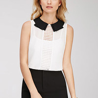 Crochet-Paneled Collared Blouse