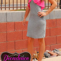 """BOW""TIFUL NIGHT OUT DRESS - GREY /"
