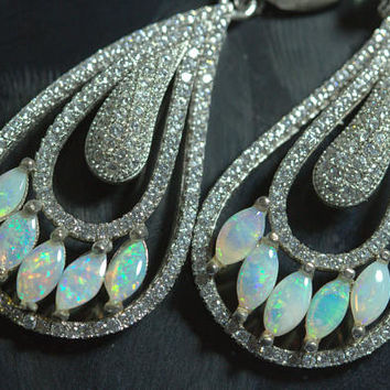 Sterling Silver Earrings with Opals and zircons. A very elegant design. 925 Purity Silver. Very fine Work. PERFECT GIFT.