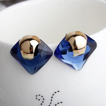 Blue Crystal Rhinestone Square Stud Earrings for Woman