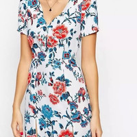 White Floral Print V-Neck A-Line Dress With Font Slit