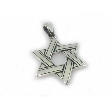 Silver Star of David Twined Necklace