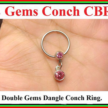 "STERILIZED 14 Gauge 5/8"" Diameter Surgical Steel 2 Gem Balls CONCH Captive Bead Ring."